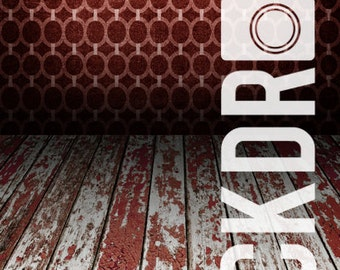 Forced Perspective Photography Backdrop - Red Grunge & Wood Floor- 5'x10'