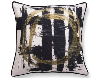 Modern velvet pillow- decorative throw pillow with an art print, geometric cushion, unique accent pillow with a velvet back and piping.