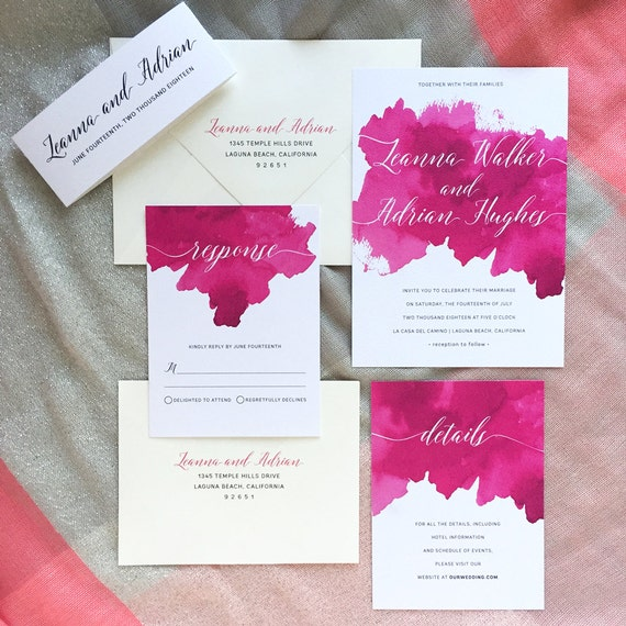 Elegant watercolor calligraphy wedding invitation sample