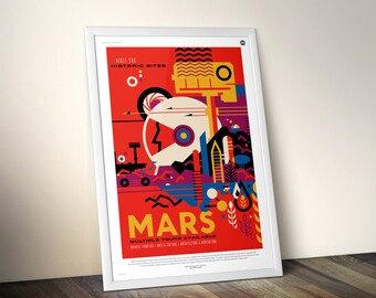 NASA Mars Canvas Poster Print, JPL Visions of the Future Space Art, Retro Gift Ideas, Nasa SpaceX Planet Rocket Home Office Artwork