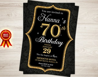 70th Birthday Invitation. Gold Glitter 50th Surprise Birthday Invitation. Damask. Woman. 80th Birthday Invitation. Printable Adult Invite