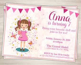 Baby Doll Party Invitation. Doll Girl 7th Birthday Invitation. Dolly Invitation. Girl Doll Party. Doll Birthday Party Printable Invitation