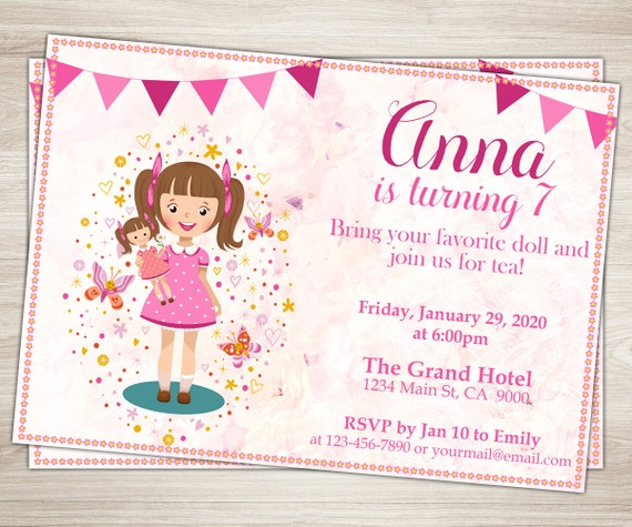 Baby Doll Party Invitation Doll Girl 7th Birthday Invitation – 7th Birthday Party Invitation