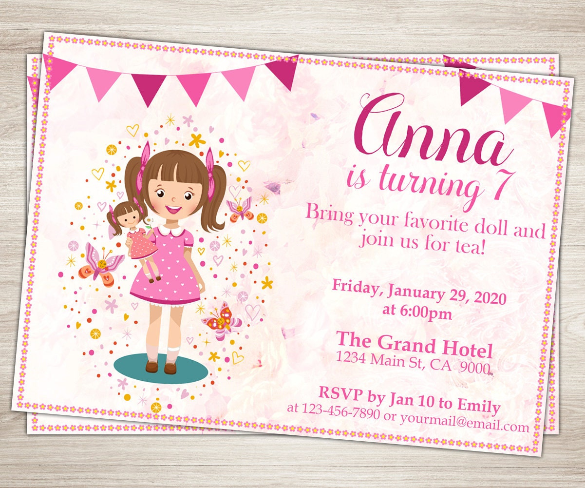 Baby Doll Party Invitation. Doll Girl 7th Birthday Invitation