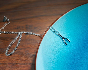 The Wish Box Sterling Silver Wishbone Necklace