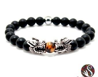 mens onyx bracelet, onyx bracelets, skull bracelet, skull, matte onyx braclet, mens bracelet, onyx gemstone, onyx, fashion bracelet
