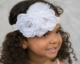 baby flower headband,satin flower headband,girl flower headband,white flower headband,flower girl White headband,white baby headband,elastic