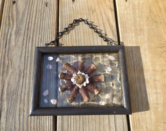 Rustic Wall Decor, Sun Catcher, Pine Cone Art, Country Decor