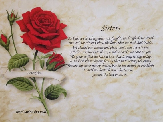 Personalized Sisters Art Print with Poem-Red Rose Art-Home