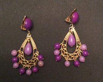 Lavendar and lilac clip earrings