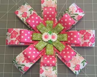 Flowers and Polka Dots hair bow