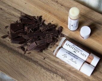 Chocolate Lip Balm - All Natural - Hermanas Apothecary - Hand Poured - Made with Organic Cocoa Butter - Perfect for the Chocolate Lover!