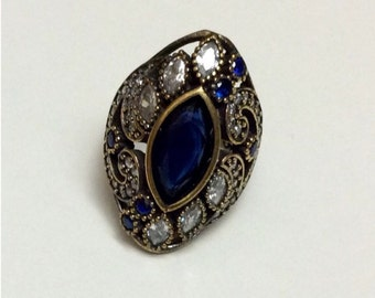 925 Sterling Silver Sapphire Topaz Ring Size 7.25