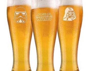 Star Wars Pilsner Beer Glasses Groomsman Wedding Gift Engraved FREE Starwars
