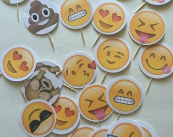 24-pack Assorted Emoji Cupcake Toppers (NEW and IMPROVED!)