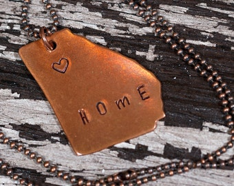 """Georgia Hand-Stamped """"Home"""" Pendant Necklace, Copper, Brass, Aluminum, Any State Available, GA Necklace, Gift Under 20, Teen Girl Gift"""