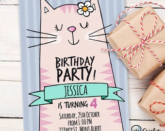 CAT BIRTHDAY INVITATION | girl | editable | two sided | printable