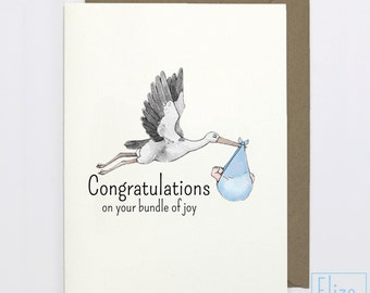 Blue Stork - Congratulations // Illustrated Greeting Card