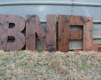 """Custom Wood Letters for Home Decor, 20"""" tall Stained wood letters for gifts and weddings, Wood Alphabet for walls"""