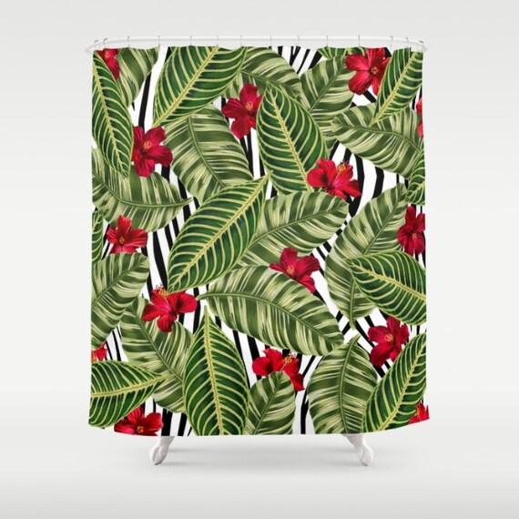 Tropical shower curtain zebra print tropical pattern bath for Bathroom ideas zebra print
