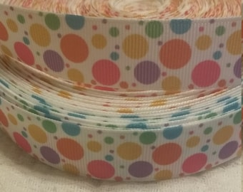"3 yards,  7/8"" grosgrain ribbon polka dot design"