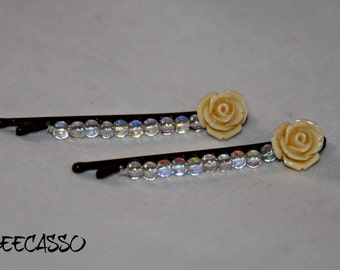 Beaded Floral Bobby Pins - #Beecasso - Hair Accessories -BCJ005