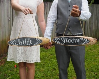 Mr and Mrs Wedding chair signs, handmade chalboard rustic