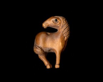 Cute Horse or Pony Looking Back, Ojime Bead Pendant, Hand Carved Boxwood, Signed by Carver