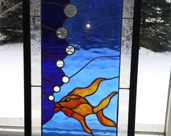 Koi fish panel.Stained glass window.Framed wall art.Glass angelfish.Shimmering bubbles window.Hanging bathroom panel.Framed water bubbles