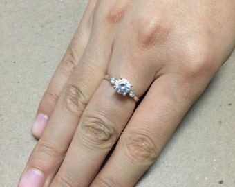 Size 6.5, vintage Sterling silver engagement ring, solid 925 silver with Swarovski crystal, stamped 925, signed