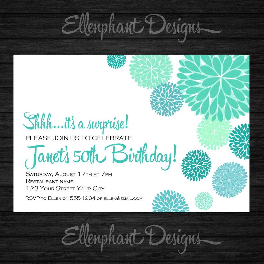 Surprise Birthday Invitation, teal, turquoise, aqua, dahlia, flower ...