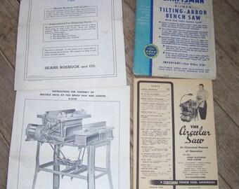 Vintage Craftsman Table Saw Circular Owners Mnaual