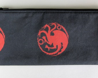 Game of Thrones House Targaryen Daenerys inspired fully lined cotton pencil pouch with fabric loop and keyring