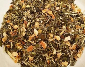 Summer Breeze, Organic Green Tea, Lemongrass Tea, Lemon Peel, Spearmint, Oat Straw, Loose Leaf Tea, Summer Tea, Cold Brew Tea, Vegan Tea