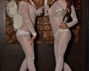 Mesh full body suit with gems and feathers