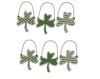 Tin Shamrock Ornaments Set of 6 St Patricks Day Art Deco Dot Chev Stripe Primitive Irish Green Clover Tree Decor Lucky Leaf