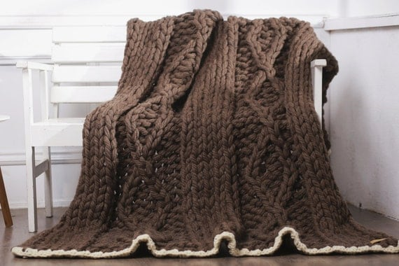 Super bulky blanket Chunky knit blanket Knitted blanket Knitted throw Knitted wool blanket Chunky knit throw Giant knitting Wool blanket