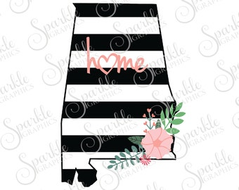 Alabama Cut File Stripes Flowers Stripes State Black And White Stripes State Svg Dxf Eps Png Silhouette Cricut Cut File Commercial Use