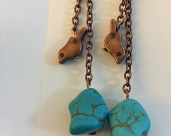 Copper bird and turquoise earrings