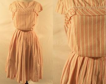 1950's Pink Cap Sleeve Pin Stripe Dress