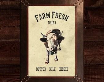 Farm Dairy Cow print,vintage cow print,farmhouse kitchen printable wall art,country vintage farmhouse kitchen printable wall decor,cow print