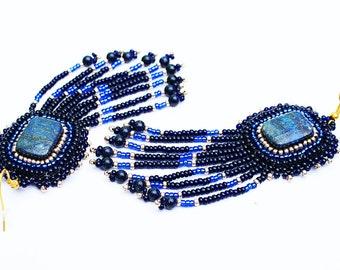 Lapis lazuli earrings Dark blue gold bead earrings Bohemian earrings Long beaded earrings Gift for her