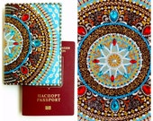 Leather Passport Covers 2 colors, Designer Travel gift for woman, Mandala art Passport holder, Leather passport wallet, Travel Passport gift