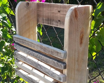 wall mount reclaimed wood magazine rack natural