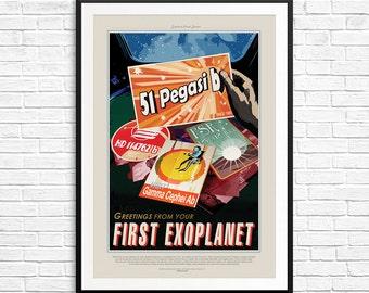 N015 51-Pegasi b Poster, First Exoplanet Poster, NASA Exoplanets, Visions of the Future, NASA Posters, NASA Prints, Nasa Travel posters