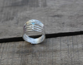sterling silver ring,sliver ring,aquamarine stone ring,silver wire ring,