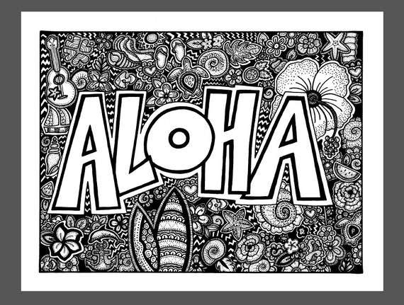 Aloha Coloring Page Coloring Book Page Printable Adult
