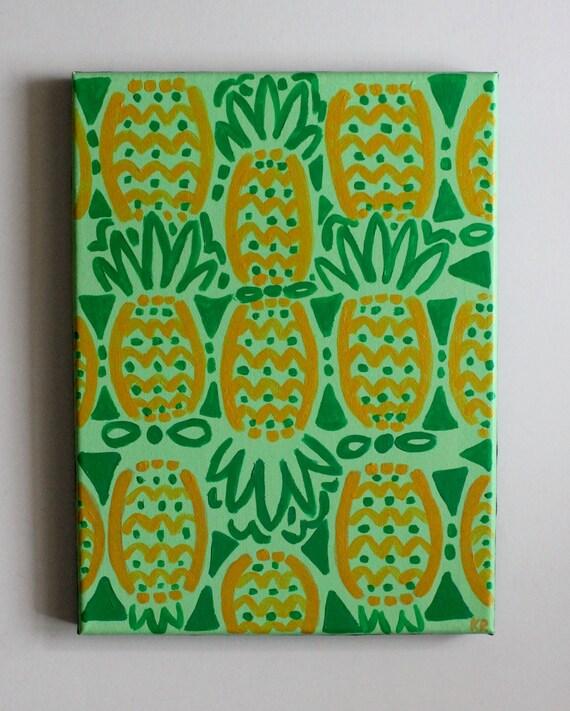 pineapple art lilly pulitzer pineapple print handmade. Black Bedroom Furniture Sets. Home Design Ideas