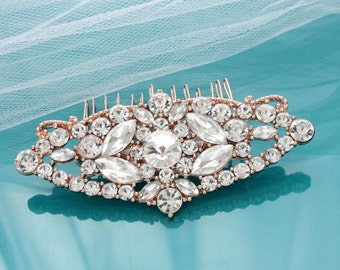 Rose gold Bridal Art Deco hair comb, Crystal wedding hair comb, Vintage bridal comb, Rhinestone comb, Hair accessories 15194RG