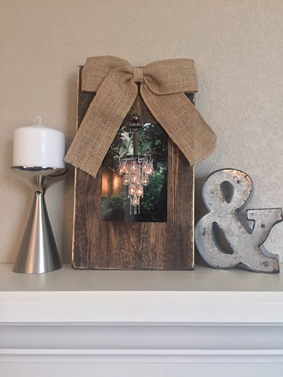 Vintage Wood Distressed Picture Frame with Burlap Bow
